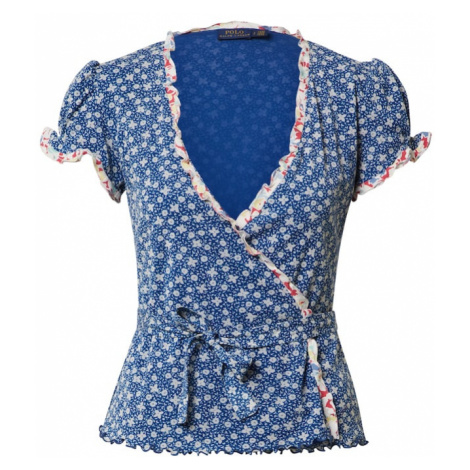 POLO RALPH LAUREN Koszulka 'FLRL WRP TP-SHORT SLEEVE-KNIT' biały / niebieski