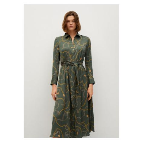 Mango Sukienka koszulowa Star 87915725 Zielony Regular Fit