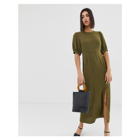Vero Moda volume sleeve maxi dress with split