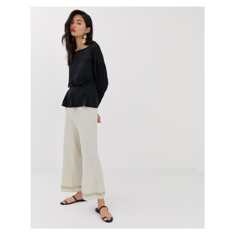 River Island knitted wide leg trousers in oatmeal