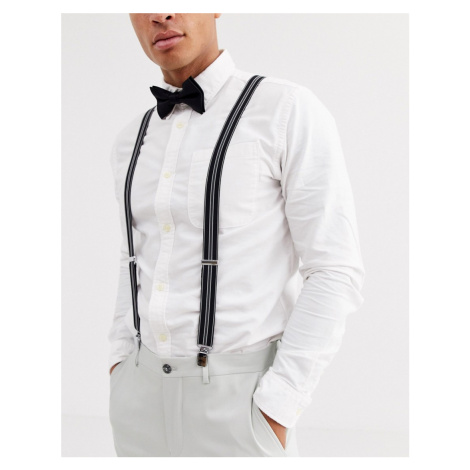 ASOS DESIGN Wedding brace and bow tie set in black and white stripe