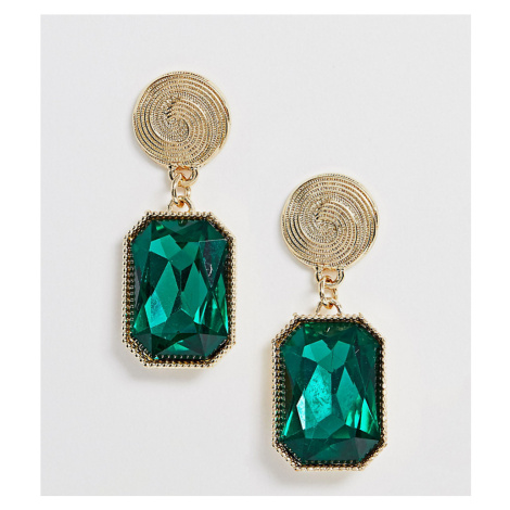 Reclaimed Vintage inspired statement earrings with green stone