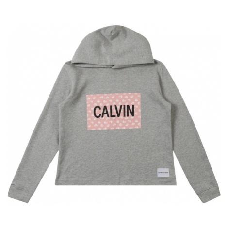 Calvin Klein Jeans Sweter 'MINI FLOWER CALVIN BOXY HOODIE' nakrapiany szary / różowy pudrowy