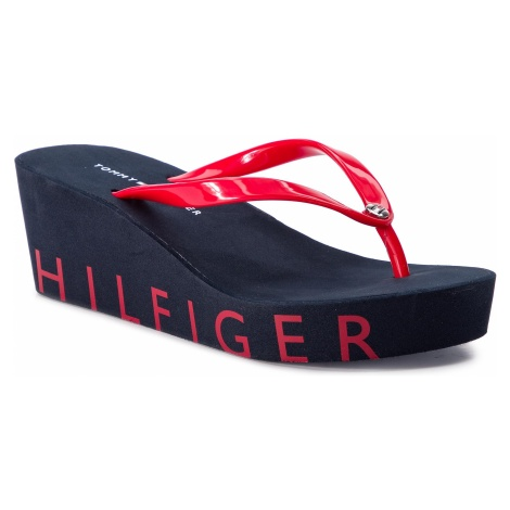 Japonki TOMMY HILFIGER - Wedge Beach Sandal FW0FW04057 Tango Red 611