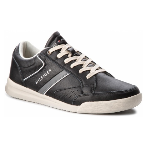 Sneakersy TOMMY HILFIGER - Corporate Detail Leather Sneaker FM0FM01620 Black 990