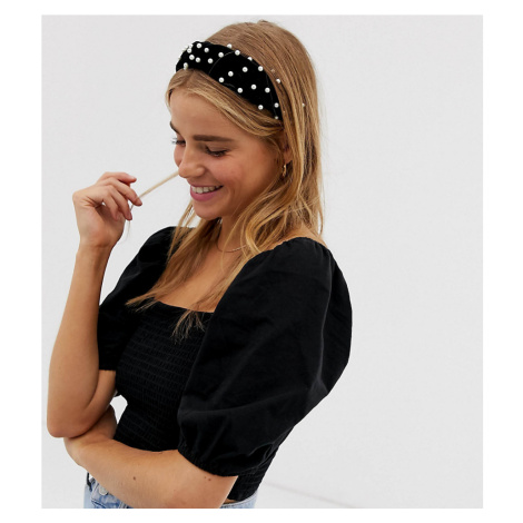 Accessorize black pearl detail covered headband