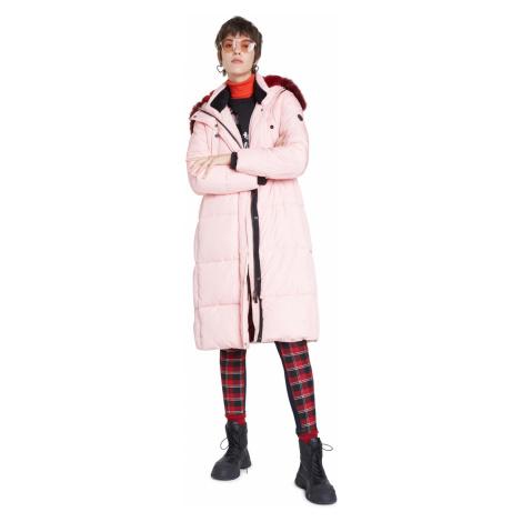 Desigual pudrowy płaszcz Padded Sveta