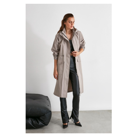 Trendyol Trench Coat with Grey Hoodie Ruffle and Belt Detail Water Propulsion