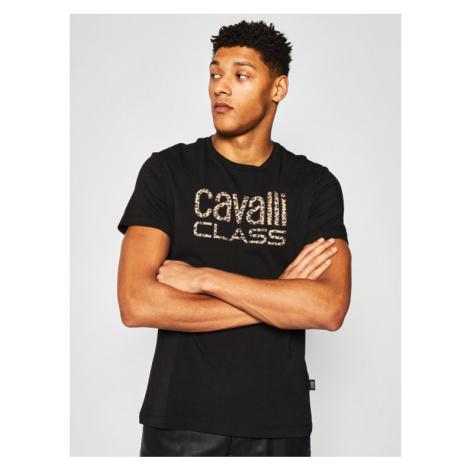 Cavalli Class T-Shirt B3JVB710 Czarny Regular Fit Roberto Cavalli
