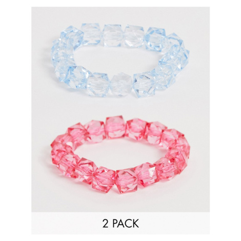 ASOS DESIGN pack of 2 stretch bracelets with baby blue and hot pink plastic beads