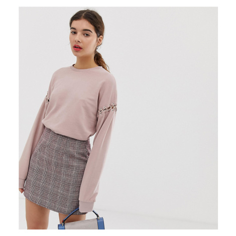 New Look sweat with lace up detail in light pink