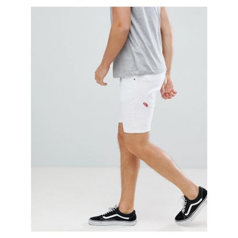 11 Degrees skinny denim shorts in white