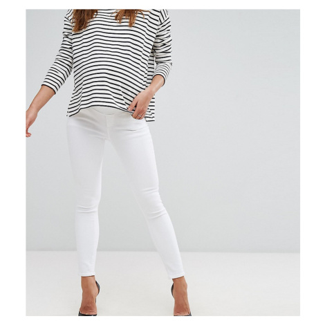ASOS DESIGN Maternity Ridley high waisted skinny jeans in white with under the bump waistband