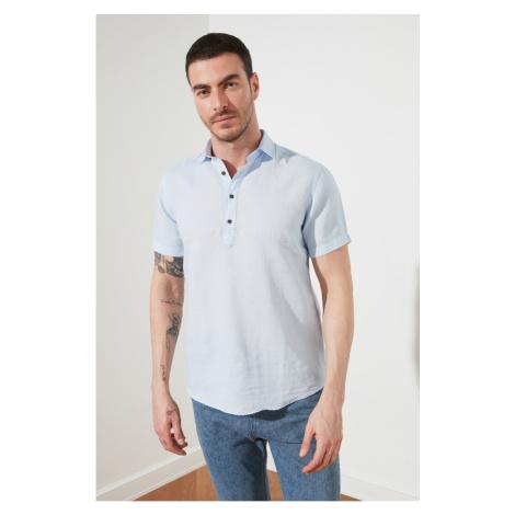 Trendyol Blue Męskie Regularne Fit Half Pat 100% Lniana koszula