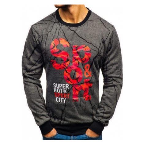 Bluza męska bez kaptura z nadrukiem grafitowa Denley 22018 J.STYLE