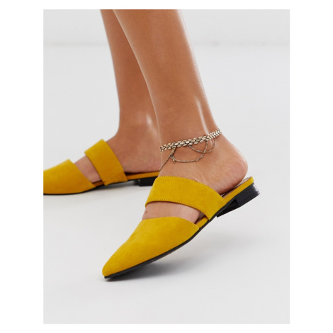 ASOS DESIGN anklet in flat link chain design in gold tone