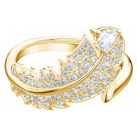 Pierścionek Nice, biały, w odcieniu złota Swarovski