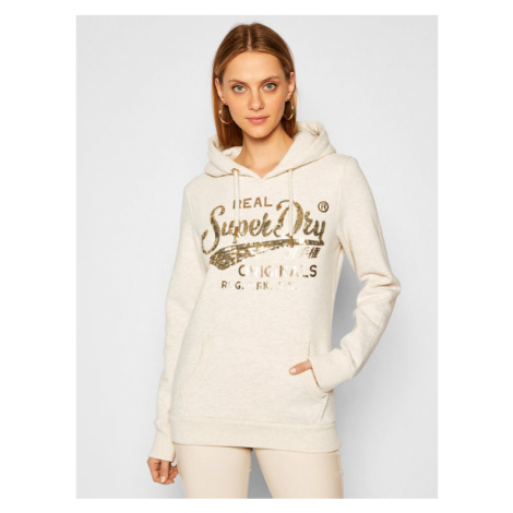 Superdry Bluza Script Sequin W2010438A Beżowy Regular Fit
