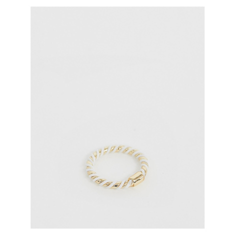 ASOS DESIGN ring in white and gold twist design in gold tone