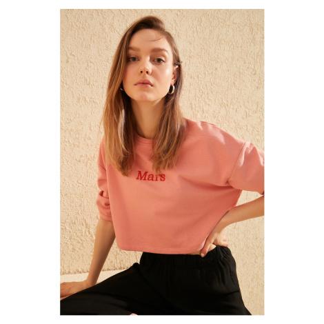 Trendyol Peach Embroidered Crop Knitted Sweatshirt
