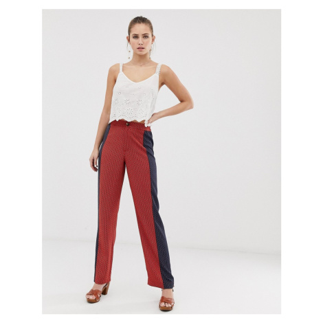 Brave Soul gitta wide leg trousers with contrast print panels