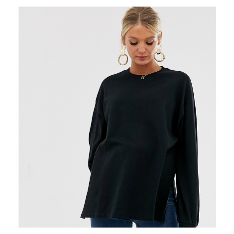 ASOS DESIGN Maternity super oversized lightweight sweat with side splits in black