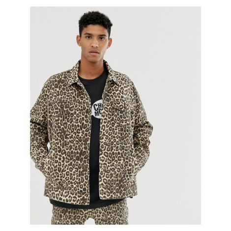 Cheap Monday oversize denim jacket with cheetah print