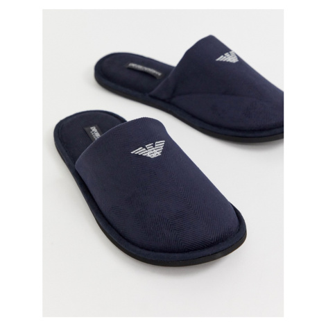 Emporio Armani logo slippers in navy