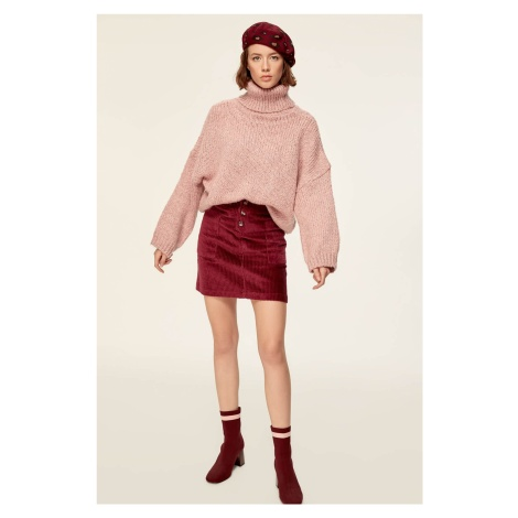 Trendyol Burgundy-Button Velvet Skirt