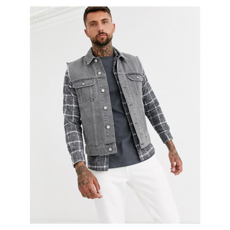 ASOS DESIGN sleeveless denim jacket in grey