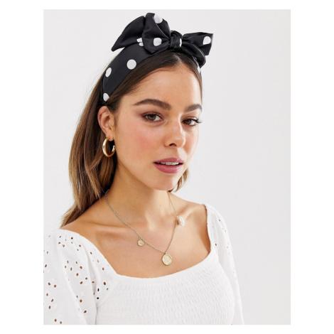 ASOS DESIGN headband with oversized bow in polka dot print