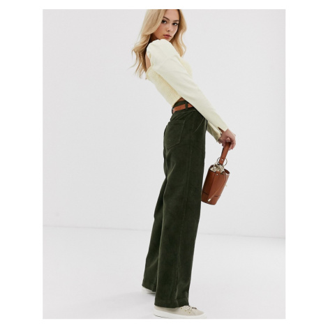 Pieces wide leg cord trousers in green