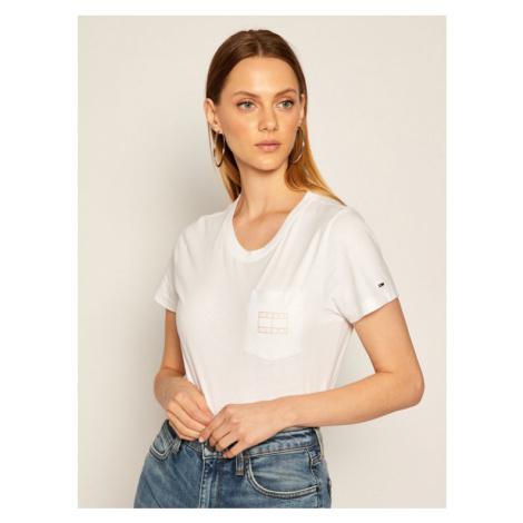 Tommy Jeans T-Shirt Tjw Logo Pocket Tee DW0DW08816 Biały Regular Fit Tommy Hilfiger