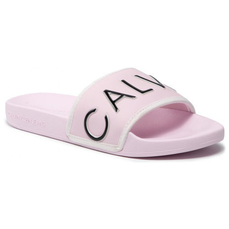 Calvin Klein Jeans Klapki Slide Padded Ck Pes-Pu YW0YW00131 Różowy