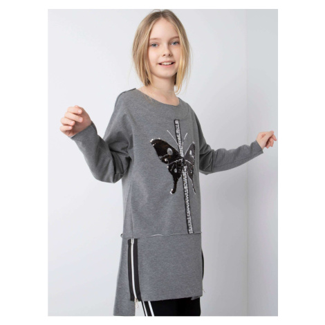 Dark gray tunic for a girl with a sequin butterfly