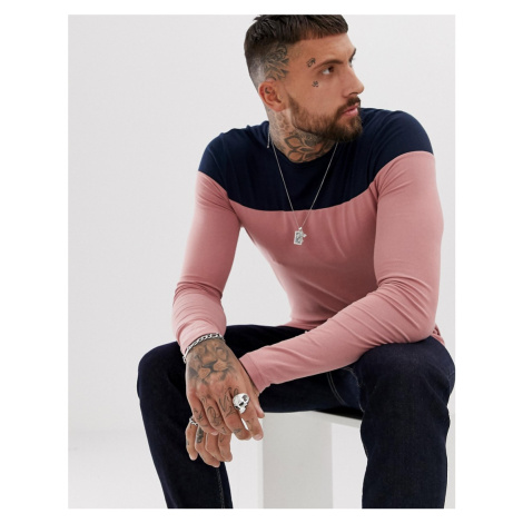 ASOS DESIGN muscle fit long sleeve t-shirt with contrast yoke in pink
