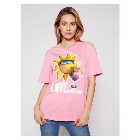 LOVE MOSCHINO T-Shirt W4F8739M 3876 Różowy Regular Fit
