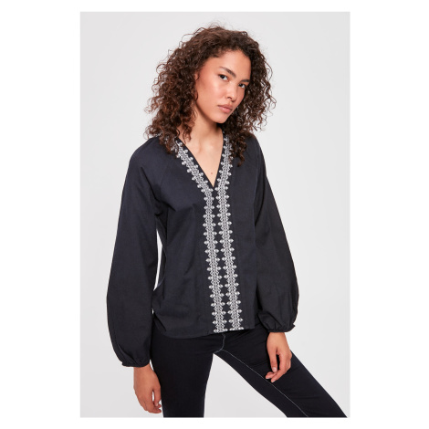 Trendyol Navy Blue Embroidered Blouse