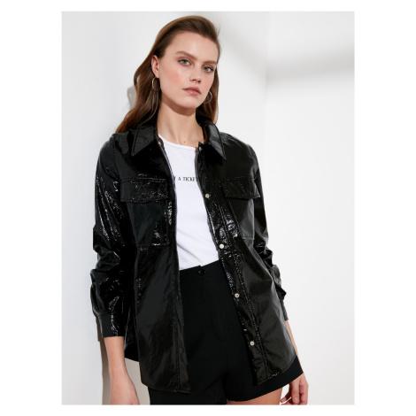 Trendyol czarna kurtka błyszcząca