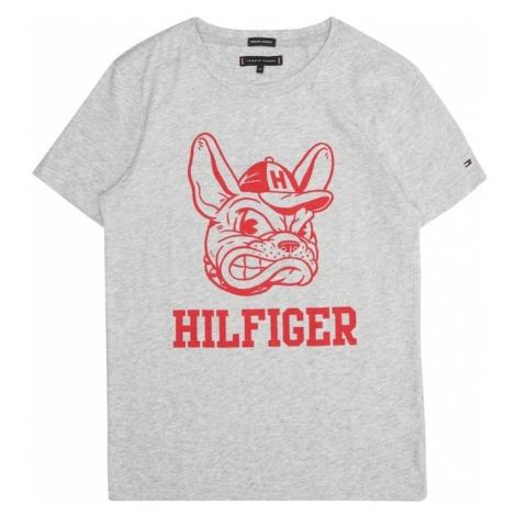 TOMMY HILFIGER Koszulka 'MASCOT TEE S/S' nakrapiany szary / czerwony