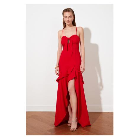 Trendyol Red Collar Szczegółowa suknia wieczorowa & sukienka dyplomowa