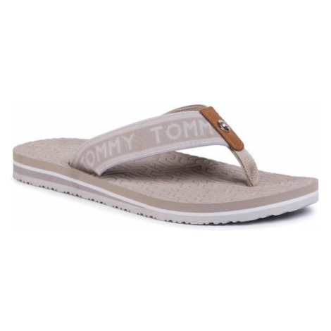 TOMMY HILFIGER Japonki Th Embossed Flat Beach Sandal FW0FW04805 Beżowy