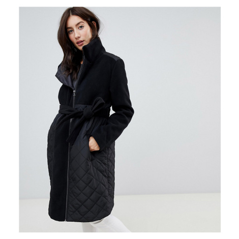 Mamalicious Padded Wool Mix Coat With Zip In Maternity Panel Mama Licious
