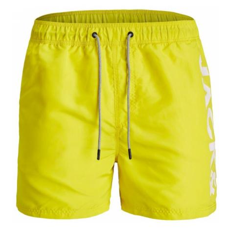 JACK & JONES Szorty kąpielowe neonowo-żółty / biały