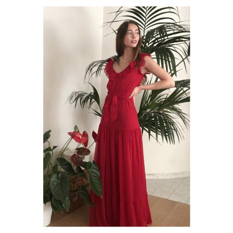 Trendyol Red BeltRuff Szczegółowa suknia wieczorowa & sukienka dyplomowa