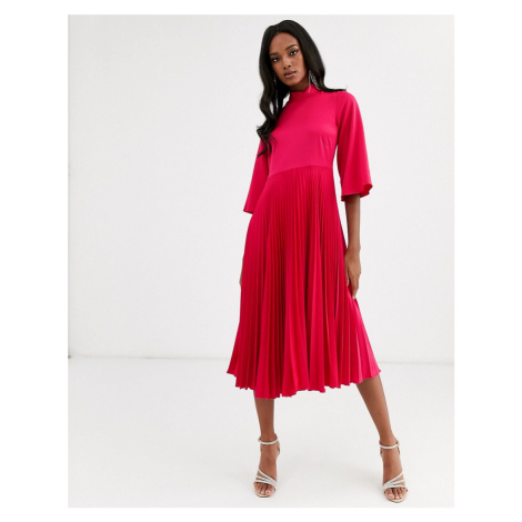 Closet London pleated satin midi dress in fuchsia