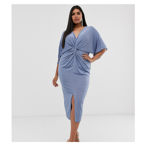 Missguided Plus Exclusive midi dress with kimono sleeves in blue