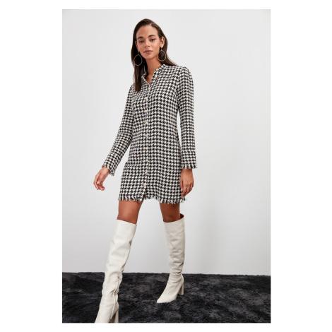 Trendyol Black Goose Foot Patterned Dress