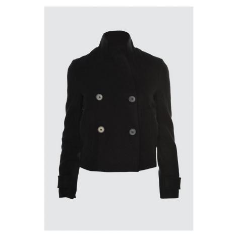 Trendyol Black Short Front ButtonEd Stamp Coat