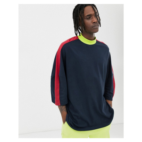ASOS DESIGN organic oversized t-shirt with half sleeve and contrast shoulder panel in navy